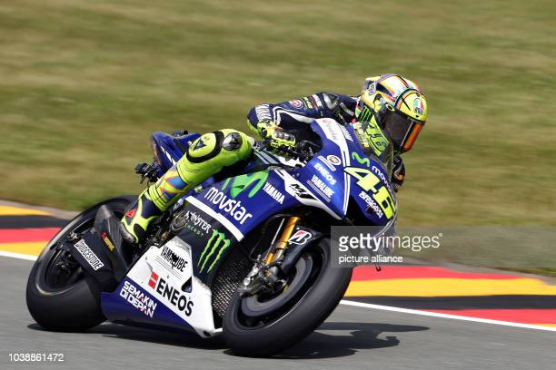 Italian MotoGP rider Valentino Rossi of team Moviestar Yamaha in action during the qualifying of the motorcycling Grand Prix of Germany at...