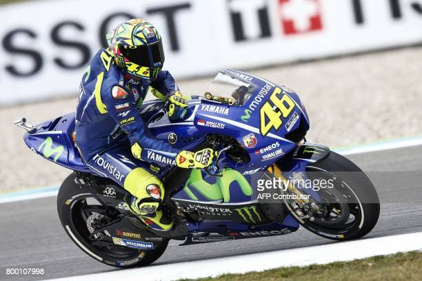 Italian MotoGP rider Valentino Rossi of the Movistar Yamaha MotoGP team during the training of the Motorcycling Grand Prix of Assen held at TT...