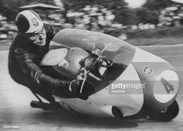 Italian motorcycle racer Libero Liberati riding a Gilera to victory in the 500cc class at the Nations motorcycle Grand Prix at Monza 1st September...