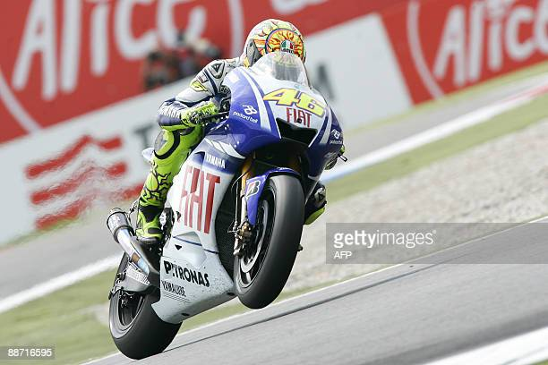 Italian motorcycle rider Valentino Rossi rides his Yamaha in the Geert Timmerbocht during the MotoGP at the Dutch TT race at Assen, Netherlands, on...