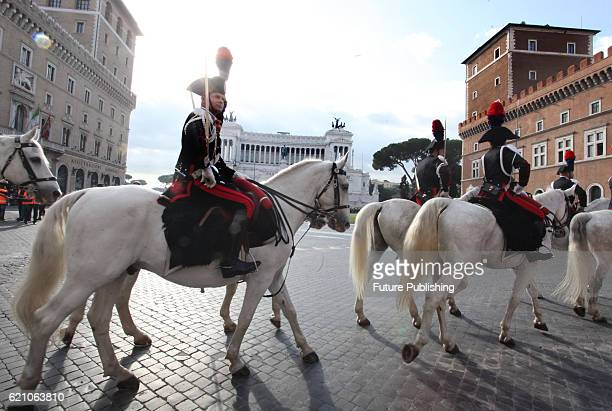 Italian mounted guards in front of the Altare della Patria at Venice Square on the occasion of national army day on November 04, 2016 in Rome, Italy....
