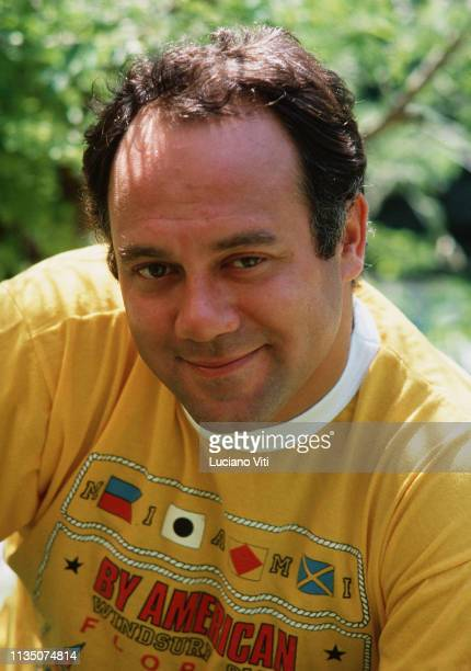 Italian movie director and actor Carlo Verdone at the home of Sergio Leone Rome Italy Eur district circa 1985