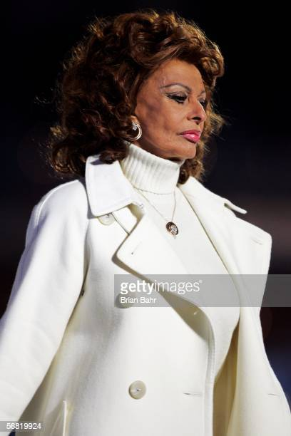 Italian movie star Sophia Loren attends the Opening Ceremony of the Turin 2006 Winter Olympic Games on February 10 2006 at the Olympic Stadium in...