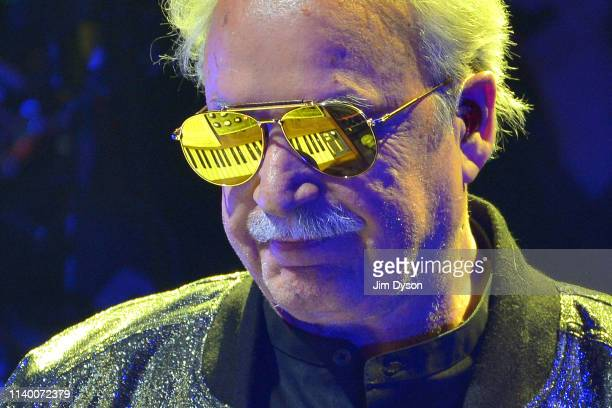 Italian music producer Giorgio Moroder performs live on stage during his first live tour at Hammersmith Apollo on April 02 2019 in London England