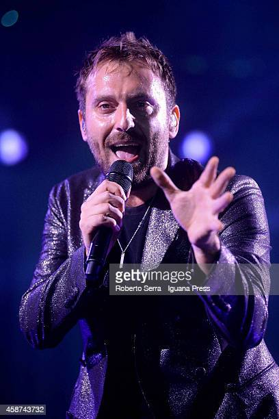 Italian musician and author Cesare Cremonini performs at Unipol Arena on November 6 2014 in Bologna Italy