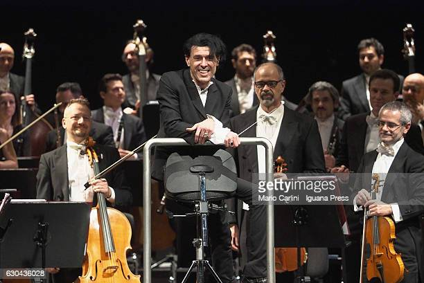 Italian musician and author Ezio Boss conduct the Orchestra of Teatro Comunale di Bologna for a concert to benefit the eartquakes victims on December...