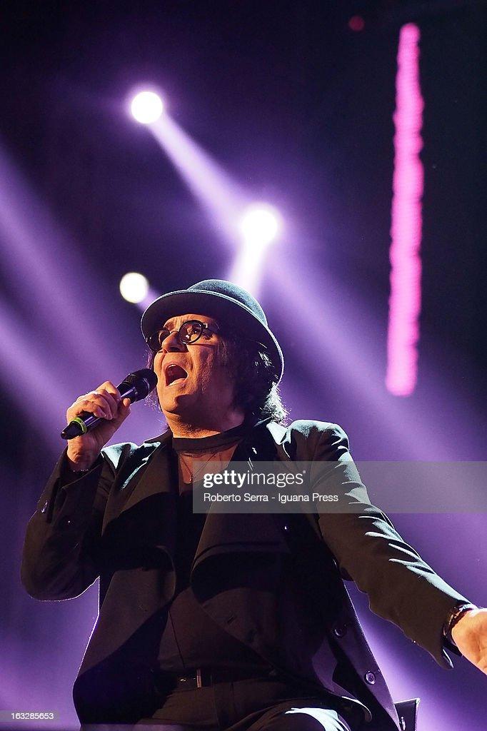 Italian musician and author Renato Zero performs the Lucio Dalla Tribute at Piazza Maggiore on March 4, 2013 in Bologna, Italy.