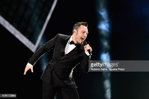 Italian musician and author Tiziano Ferro performs at Renato Dall'Ara Stadium on July 1 2015 in Bologna Italy