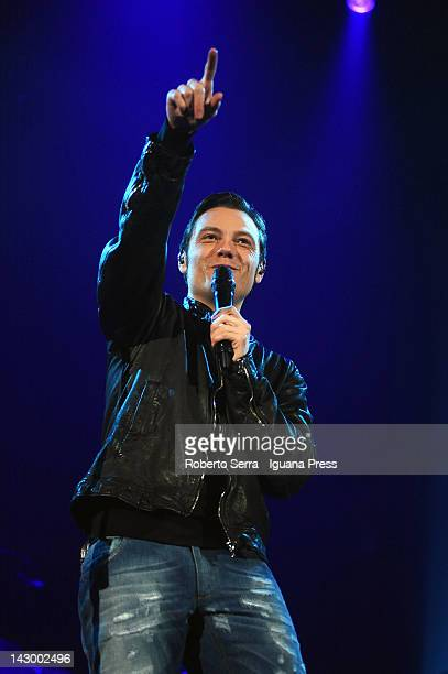 Italian musician and author Tiziano Ferro performs at Unipol Arena on April 13 2012 in Bologna Italy