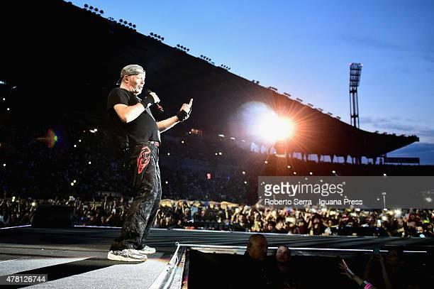 Italian musician and author Vasco Rossi performs at Renato Dall'Ara Stadium on June 22 2015 in Bologna Italy