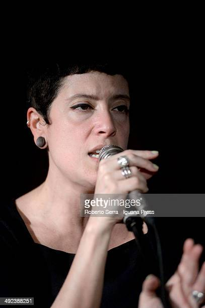Italian musician and authoress Susanna Suz La Polla performs with her Jazz Quintet at Bravo Caffe Club on May 6 2014 in Bologna Italy