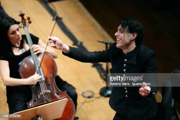 Italian musician and composer Ezio Bosso conduces the Mozart Orchestra in a concert to honour the graet musician Claudio Abbado at Teatro Manzoni on...