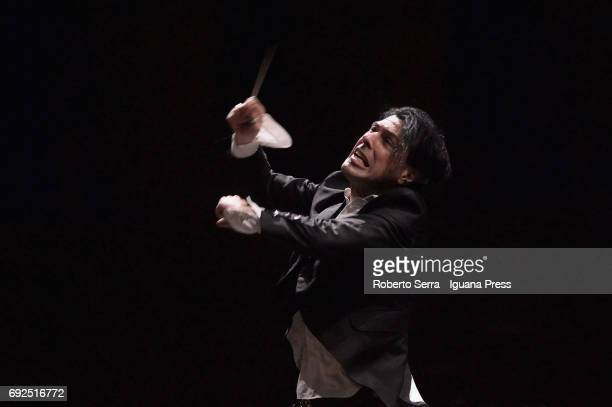 Italian musician and composer Ezio Bosso conducts the Orchestra of the Bologna's Teatro Comunale in concert for charity for the victims of the...