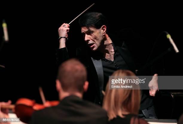 Italian musician and composer Ezio Bosso conducts the Stradivari Festival Chamber Orchestra during Piano Lessons Ezio Bosso At Ogr in Turin on...
