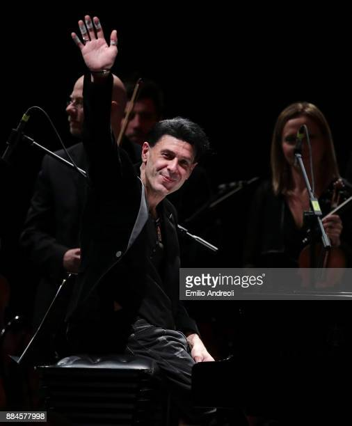 Italian musician and composer Ezio Bosso performs live on stage during Piano Lessons Ezio Bosso At Ogr in Turin on December 2 2017 in Turin Italy