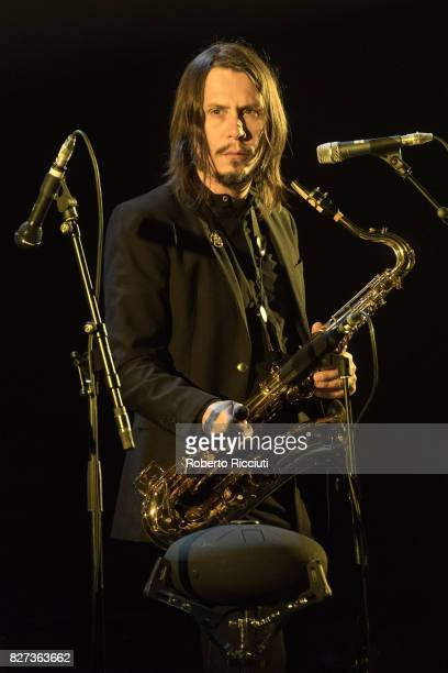 Italian musician Enrico Gabrielli performs on stage at Edinburgh Playhouse as part of the 70th Edinburgh International Festival on August 7 2017 in...