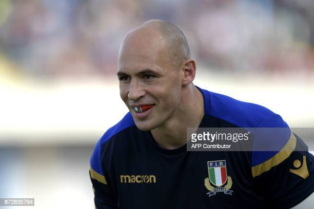 Italian N°8 Sergio Parisse warms up prior to a Rugby Union test match between Italy and Fiji at the Angelo Massimino stadium in Catania on November...