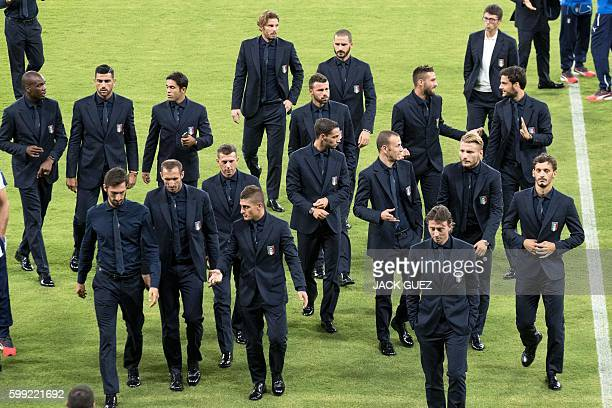 Italian national football team players arrive at the Sammy Ofer Stadium in Haifa, in northern Israel, on September 4, 2016 on the eve of their Russia...