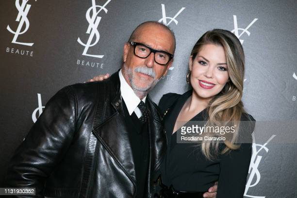 Italian National Make Up YSL Artist Valter Gazzano and Costanza Caracciolo pose at the YSL Beauty Club Milan during Milan Fashion Week Autumn/Winter...