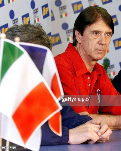 Italian national soccer team coach Cesare Maldini gives a press conference after a short training session of the team at the Senlis stadium 12 June a...