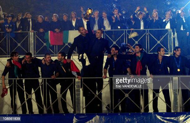 Italian National soccer team players celebrate the World Cup 2006 with thousands of supporters at Rome's Circus Maximus during a welcome home...