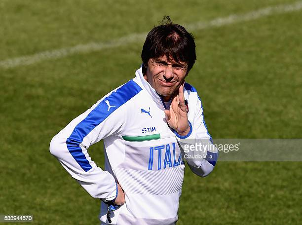 Italian national team head coach Antonio Conte looks on during the Italy training session at the club's training ground at Coverciano on May 24 2016...
