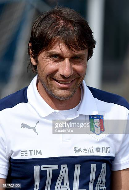 Italian national team head coach Antonio Conte looks on during the Italy training session at the club's training ground at Coverciano on May 27 2016...
