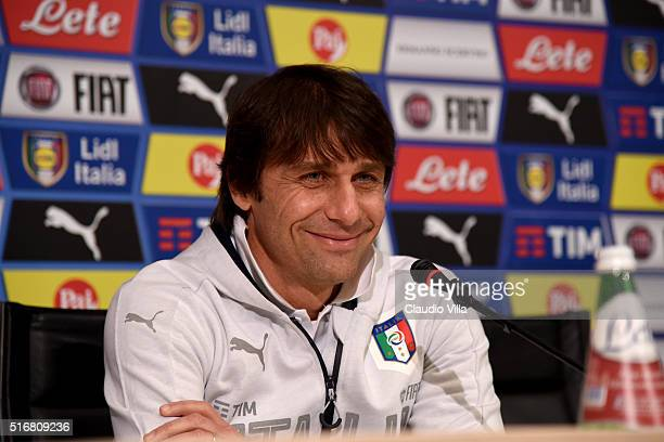 Italian national team head coach Antonio Conte speaks to the media during a press conference at the club's training ground at Coverciano on March 21...