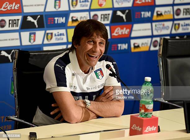 Italian national team head coach Antonio Conte speaks to the media during a press conference at Coverciano on May 24 2016 in Florence Italy