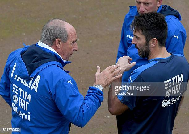 Italian national team head coach Giampiero Ventura and Gianluigi Buffon chat during the training session at the club's training ground at Coverciano...