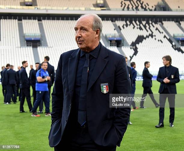 Italian national team head coach Giampiero Ventura attends prior to the press conference at Juventus Stadium on October 5 2016 in Turin Italy