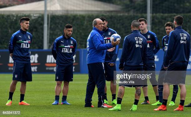 Italian national team head coach Giampiero Ventura reacts during the training session at the club's training ground at Coverciano on February 21 2017...