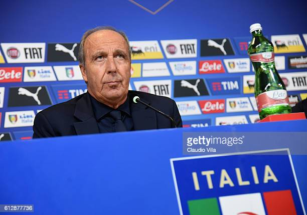 Italian national team head coach Giampiero Ventura speaks to the media during the press conference at Juventus Stadium on October 5 2016 in Turin...