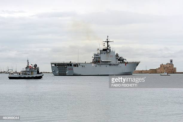 Italian Navy ship the 'San Giorgio' leaves the port of Brindisi to take part in the rescue operations of the burning ferry 'Norman Atlantic' adrift...