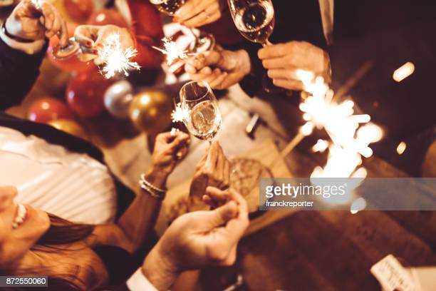 italian new year party - asian drink stock photos and pictures