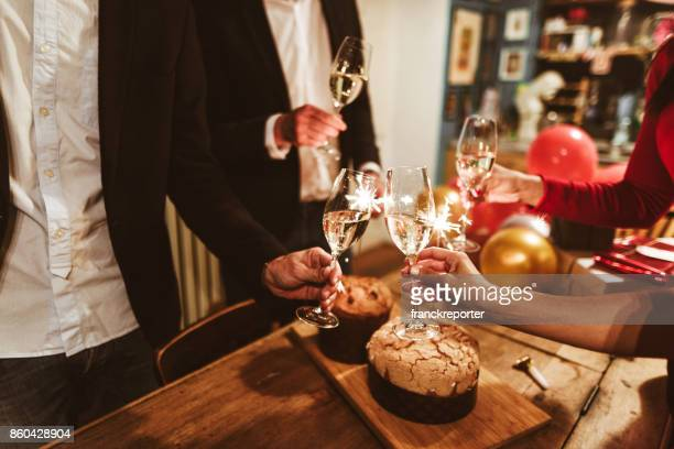 italian new year party with the panettone