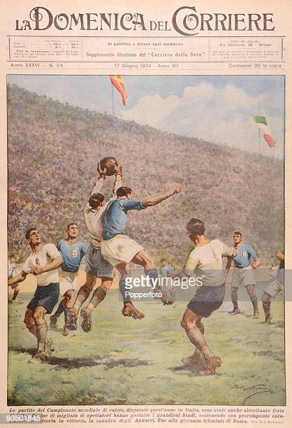 Italian newspaper illustrating the World Cup Final between Italy and Czechoslovakia at the Stadio Dell PNF in Rome 10th June 1934 The Czechoslovakian...