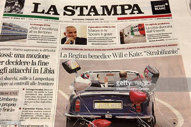 Italian newspaper La Stampa reports the marriage of their Royal Highnesses Prince William Duke of Cambridge and Catherine Duchess of Cambridge...