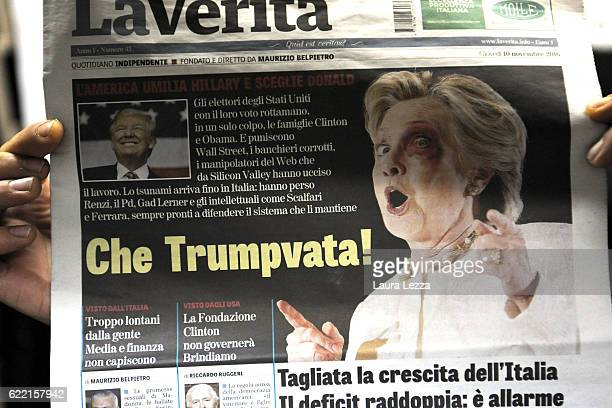 Italian newspapers show US Democratic candidate Hillary Clinton on its front pages the day after Trump was announced the winner in US presidential...