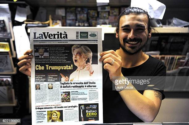 Italian newspapers shows US Democratic candidate Hillary Clinton on its front pages the day after Trump was announced the winner in US presidential...