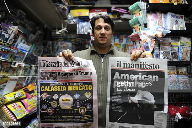Italian newspapers shows US Democratic candidate Hillary Clinton on their front pages the day after Trump was announced the winner in US presidential...