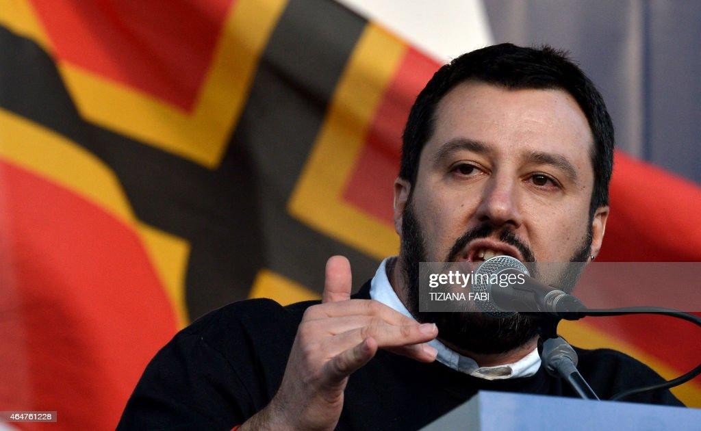 ITALY-POLITCS-SALVINI-RALLY : News Photo