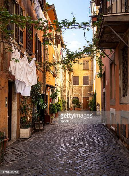 italian old town (trastevere in rome) - rome italy stock pictures, royalty-free photos & images