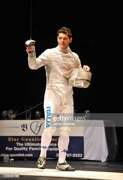 Italian Olympic fencer Aldo Montano attends the Fencing Masters NYC Tournament and Expo at the Hammerstein Ballroom on November 17 2010 in New York...