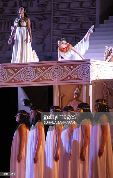 Italian Opera Aida is performed at the Roman theater during the opening of Tyre Festival late 03 July 2003 in the southern port city of Tyre Verdi's...