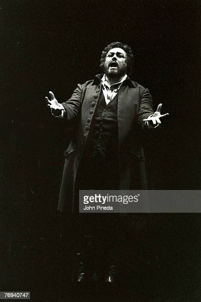 Italian opera singer and tenor Luciano Pavarotti performs in the Florida Grand Opera's production of Giacomo Puccini's 'Tosca,' Miami, Florida, 1981.