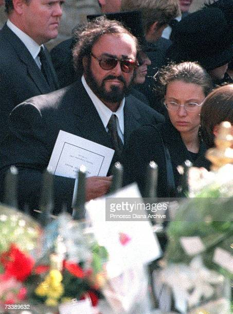 Italian opera singer Luciano Pavarotti and his partner Nicoletta Mantovani leaving Westminster Abbey after the funeral of Princess Diana Princess of...