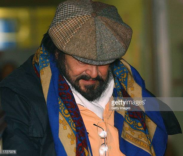 Italian opera singer Luciano Pavarotti leaves Saint Orsola hospital after visiting his partner Nicoletta Mantovani January 15 2003 in Bologna Italy...