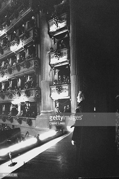 Italian opera star Franco Corelli taking curtain call at La Scala.