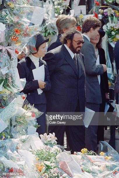 Italian operatic tenor Luciano Pavarotti attends the funeral of Diana Princess of Wales at Westminster Abbey in London 6th September 1997